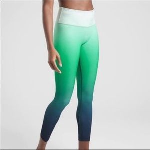 Athleta Green and Blue Ombré Leggings, Size M